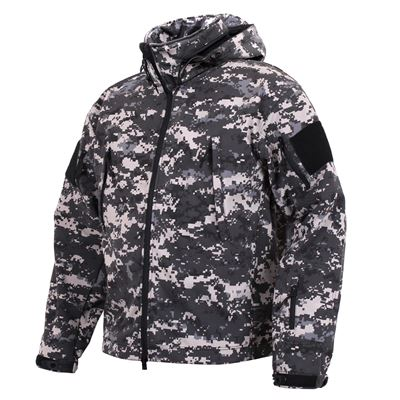 Bunda TACTICAL s kapucí softshell DIGITAL URBAN