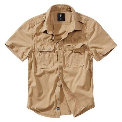 Košile styl VINTAGE krátký rukáv CAMEL PÍSKOVÁ