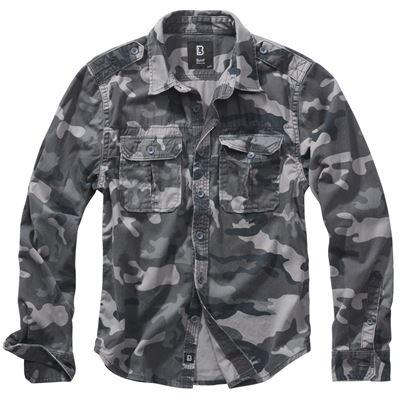 Košile styl VINTAGE dlouhý rukáv GREY CAMO