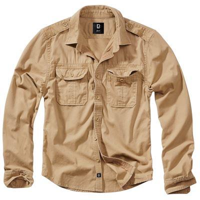 Košile styl VINTAGE dlouhý rukáv CAMEL PÍSKOVÁ