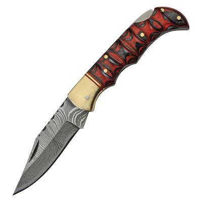 Nůž zavírací DAMASCUS RED and BLACK dřevěná rukojeť