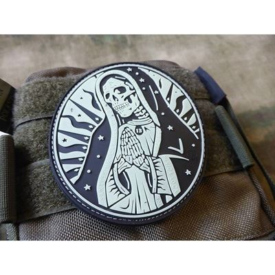Nášivka SANTA MUERTE plast velcro GLOW IN THE DARK